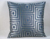 Decorative Dark Blue and Silver Metallic Geometric Accent Pillow Geometric Pillow 18x18 - 20x20Cover