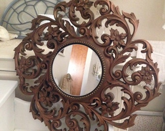 Fabulous Vintage French Flower Mirror - Cottage Chic - Home Decor Homco