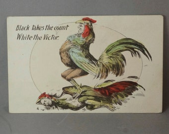 Black Takes The Count - Johnson Jeffries Postcard - Boxing Sports Memorabilia. Boxing Match.   N0.26 hs