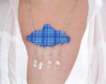 Blue Plaid Necklace Rain Drops Scottish Jewelry Cloud Royal Raindrop Crystals Statement