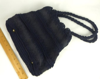 "Handbag Purse Vintage Crochet Navy Blue Made in Italy Exclusively for ""Walborg"" 1940s"