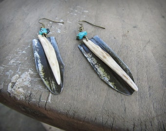 Deer Antler Tip Earrings - ARMA- Distressed Tin Turquoise Beads Carved Bone Bohemian Jewelry