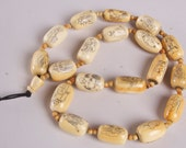 RESERVED Antique Chinese hand-carved ivory bead necklace, Qing Dynasty, 18th c., scrimshaw