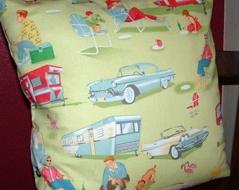 TRAILER HAPPY CAMPER Pillow  Cover 18 x 18  Green Cotton Print Pillow cushion Cover
