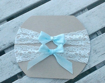 Bridal Garter Set in Ivory Stretch Lace and Baby Blue Bows Detail, Wedding Keepsake Garter, Toss Garter, Something Blue