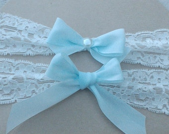 Bridal Garter Set in Ivory Stretch Lace and Baby Blue Bows Detail, Wedding Keepsake Garter, Toss Garter, Something Blue