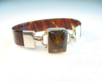 Amber Bracelet. Tortoiseshell Lucite Band. Sterling Silver Hook & Eye Link. Modernist Jewelry. 1980s Vintage Jewelry.