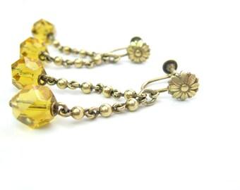 Art Deco Czech Earrings. Topaz Glass Dangles. Antique Sterling Silver Vermeil Ball Chain. Flower Screw Backs. Vintage 1920s Art Deco Jewelry