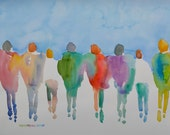 "Passion People (6272015.2), Original Watercolor, Figures, Large 22"" x 30"", Free Ship US, Will ship out of US contact first for cost"