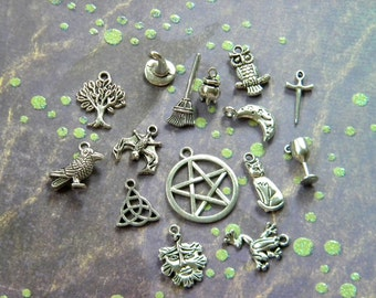 15 pc. Mixed WICCAN Charm Lot Pentacle Cauldron Besom Broom Chalice Moon Bat Raven OWL Tree PAGAN Silver finish  d.i.y.  Jewelry Making