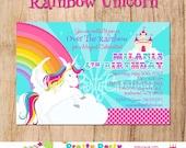RAINBOW UNICORN invitation - YOU Print