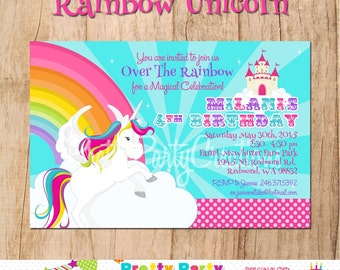 RAINBOW UNICORN invitation - YOU Print