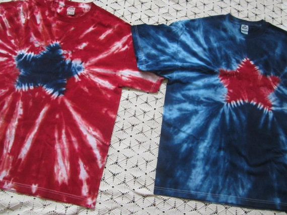 """Tie dye shirts in Adult XL and Adult 2X!! """"Star Spangled"""", July 4th, Independence day, God bless the USA"""