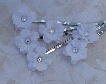 Small White Flower Hair Pins with AB Rhinestone Centers - Wedding - Bridal - Swarovski Bobby Pins - Set of 6