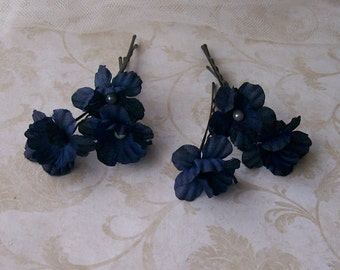 Navy Blue Flower Hair Pins - Small Dark Blue Flower Bobby Pins - Brides - Bridesmaids- Prom