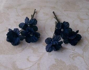 Navy Blue Flower Hair Pins - Small Dark Blue Flower Bobby Pins - Brides - Bridesmaids- Prom