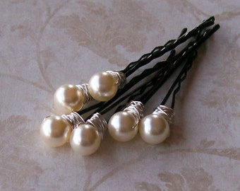 Ivory Cream Pearl Hair Pins - Swarovski Crystal Pearl Bobby Pins - Set of Six