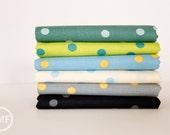 Barcelona Rain Dots Fat Quarter Bundle, 6 Pieces, Brigitte Heitland, Zen Chic, Moda Fabrics, 100% Cotton Fabric, 1535