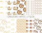 Cookie and Coffee Digital Papers, Brown Coffee Lovers Background, Coffee and Cookies Patterns set of 10