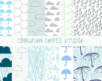 Rain Digital Papers, Cute Clouds Digital Background, Umbrella Papers, Blue Rainy Day Set