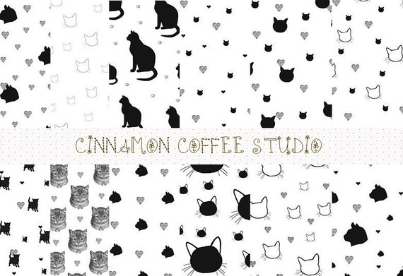 Black Cat Digital Papers, Cat Backgrounds, Cute Cat Pattern, Black Cat Backgrounds - set of 12