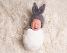 Fluffy mohair bunny beanie bonnet. Grey. Great photo photography prop. Choose size.