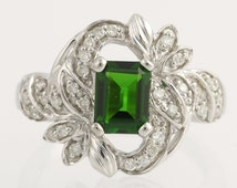 Cocktail Ring Diamonds & Green Chrome Diopside - 14k White Gold Genuine 1.72ctw L956 R