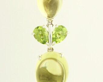 Lemon Quartz & Peridot Pendant - 18k Rose Gold Sterling Silver L1773 R