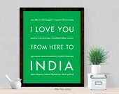 India Wall Decor, I Love You From Here To INDIA, Travel Art Print, Shown in Bright Green - Choose Color, Canvas Poster, Free U.S. Shipping