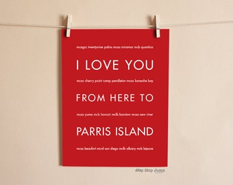 Marine Girlfriend, USMC Marine Corps, Long Distance Gift, Military Decor, I Love You From Here To PARRIS Island, Shown in Scarlet Red