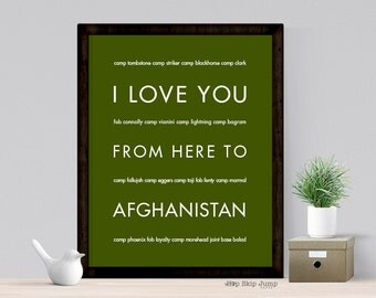 US Army Wife, Long Distance Gift for Her, Deployment Gift, Free Shipping, I Love You From Here To Afghanistan