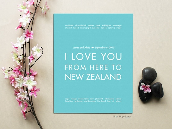 New Zealand Poster, Wedding Gift, Travel Poster, Travel Wedding, I ...
