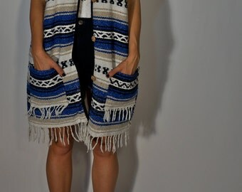 Mexican Blanket Poncho Jacket One Size S M L Blue Black Boho Hippie Gypsy Club Kid Hipster Festival Baja Shawl Mexico Western Festival Tunic