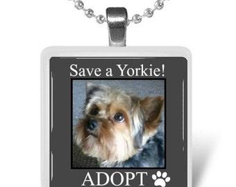 Adopt a Yorkie Glass Tile Pendant