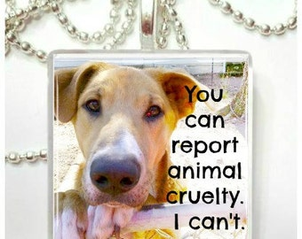 You can report animal cruelty.  I can't  Glass Tile Pendant
