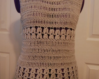 Crochet Top  GREY Cotton/Viscose Womans Size Small