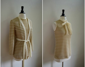 Vintage boho gold and white textured fabric blouse and jacket set / tie neck belted top and cardigan / metallic knit shirt