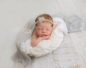 Mohair Grey Wrap and Tieback Set, Newborn Photo Prop, Newborn Headband and Wrap Set,
