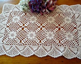 Doily Crocheted Doily Large Ecru Crochet Doily Vintage Doilies Doilies  B225