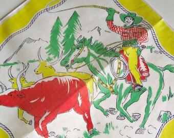 Child's Hankie Hankerchief Hanky Cowboy Round Up Western Yellow