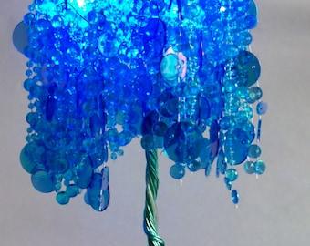 Caribbean Blue Lit Crystal Tree