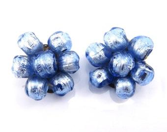 Vintage Earrings - Blue Glass - Flower Earrings - 1940s Jewelry - Handmade - Vintage Jewelry - Clip Earrings - Something Blue