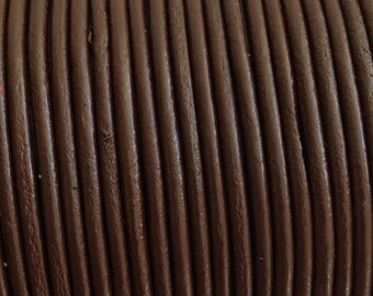 2mm Brown Leather Cord, Greek leather cord, Brown Leather Cord 1m - 1 yard S 40 139