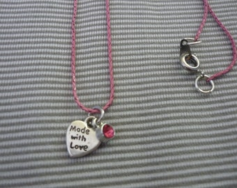 Made with Love pink necklace