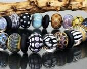 AV-Beads handmade Lampwork Set etched SRA