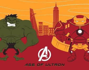 Iron Man Hulk Silkscreen Poster by Ian Glaubinger inspired by Avengers Age of Ultron Marvel Comics Smashus Maximus