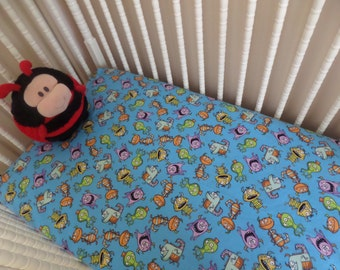 SALE . SALE . SALE . Crazy Silly Friendly Little Monsters . Baby Crib or Toddler Bed Fitted Flannel Sheet