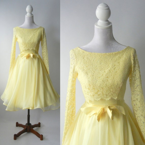 Vintage 1950s Yellow Dress Retro 50s Yellow Lace by SLVintage