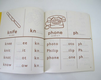 Vintage Children's Phonics Spelling Writing Book