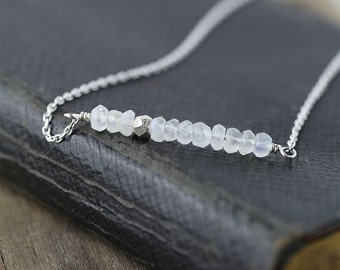 Minimalist Silver Moonstone Necklace / Jewelry by burnish / Natural White Gemstone Bar Necklace With Sterling Silver Chain